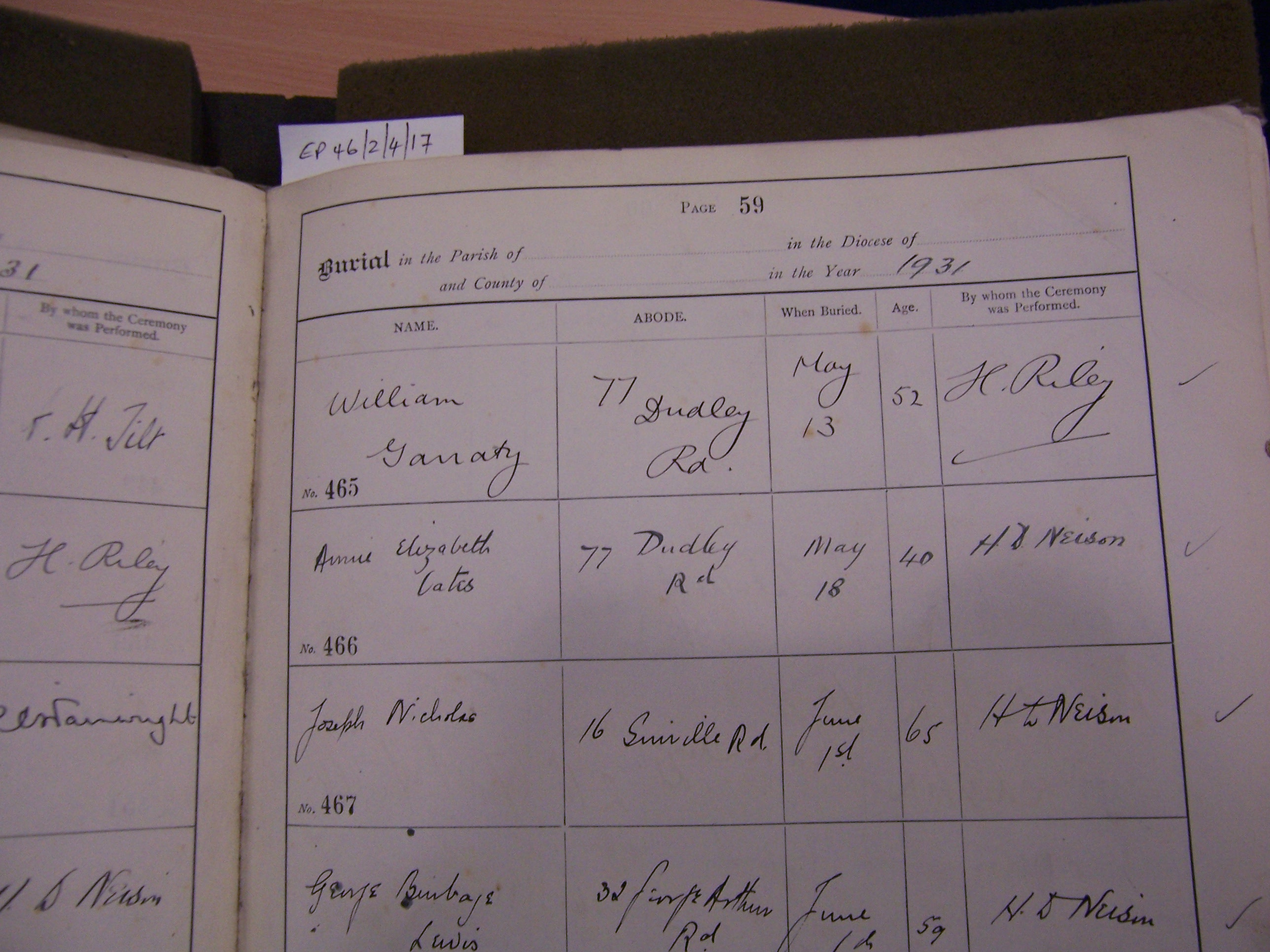 Billy Garraty's Death Register Birmingham Library