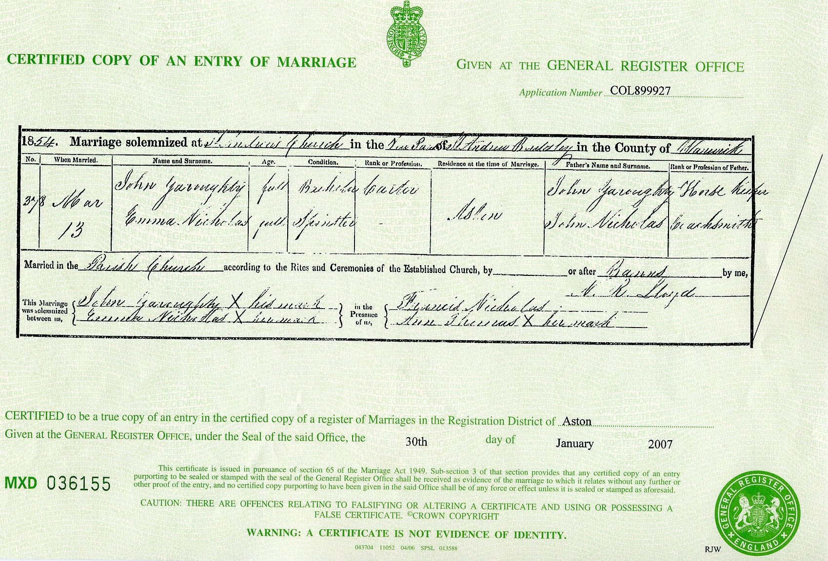 Marriage Certificate For John & Emma Garraty