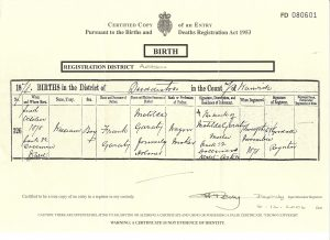 William (Billy) Garraty's Birth Certificate