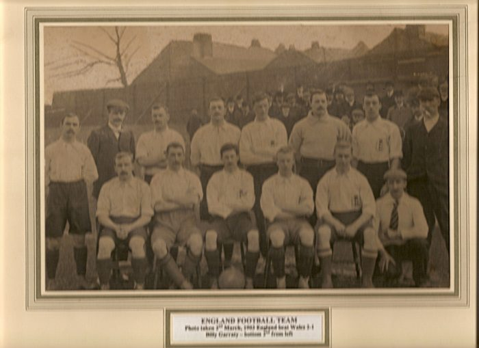 England Football Team 1903 v Wales Billy Garraty Front Row 2nd Left