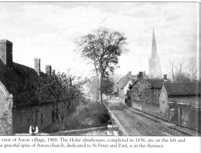Aston Village 1868 with Holte Almshouses.